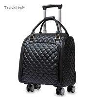 Kadın moda Marka PU deri 16 inç Haddeleme Bagaj Spinner Çanta Bavul Tekerlekler Seyahat Çantaları Üzerinde Taşımak