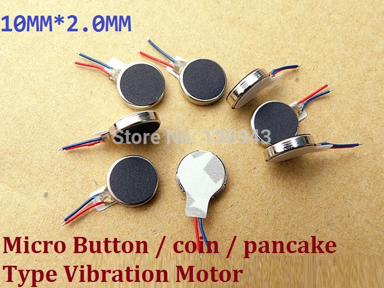 10 pieces 3V 10MM Coin Mini Pancake Cell Adhesive Vibration Micro Motor Flat A2