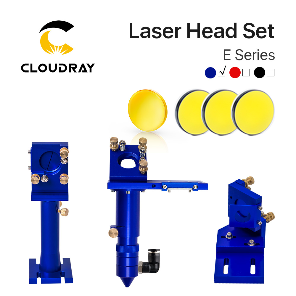E Series: CO2 Laser Head Set + 1 Pcs Focusing Lens + 3 Pcs Si / Mo Mirrors For Engraver Cutting Machine Parts Colors Optional