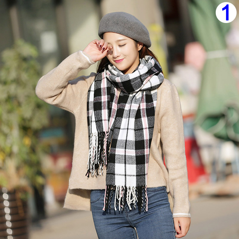 1 Pcs Women Lady Girl Scarf Scarves Plaid Pattern Warm Soft Fashion For Winter -MX8