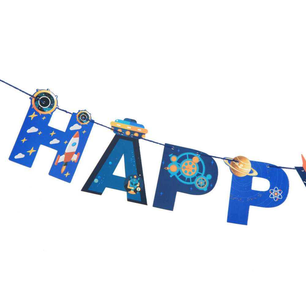 Outer space happy birthday banner for Outer space home decor