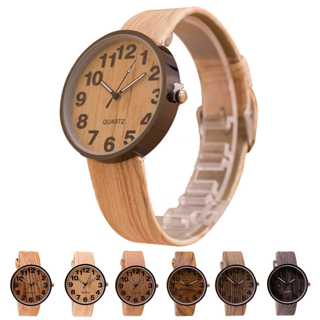 Style Wood Grain Leather Quartz Men Watch Women Dress Wristwatches Business Digi