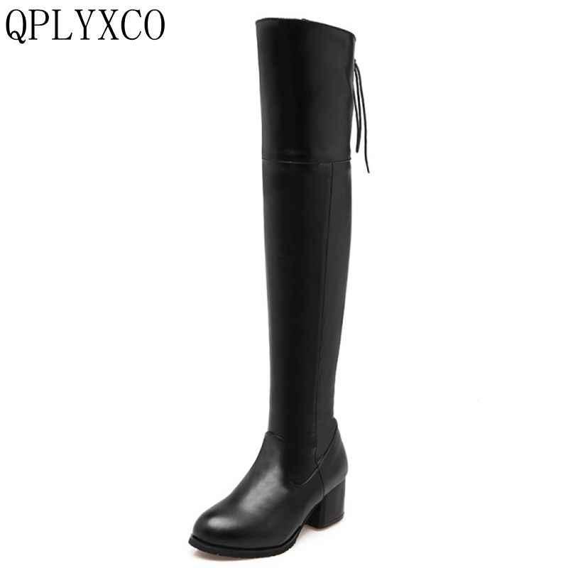 62945adb4f8 QPLYXCO New Fashion Sexy Big size 33-47 Russian ladies long Boots autumn  winter warm