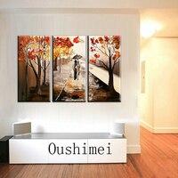 Wykwalifikowanych Artysty Ręcznie malowane malowanie Grupa Abstrakcyjne Obrazy Kochanka Chodzenie Na Jesień Droga Obraz Olejny Do Dekoracji Salonu