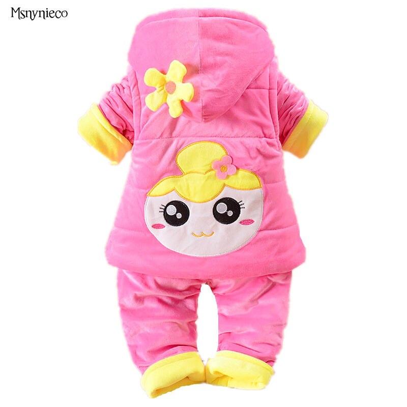 ФОТО Newborn Baby Girl Clothing Set 2016 Fashion Casual Floral Warm Jacket Kids Vest+Pant 3pcs Baby Suits conjunto infantil menina