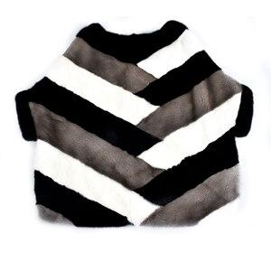 Image 2 - 2020 新リアルミンクの毛皮コートジャケットポケットバットスリーブバットウィングファッション女性の毛皮のコート厚く暖かいストリートスタイル半袖
