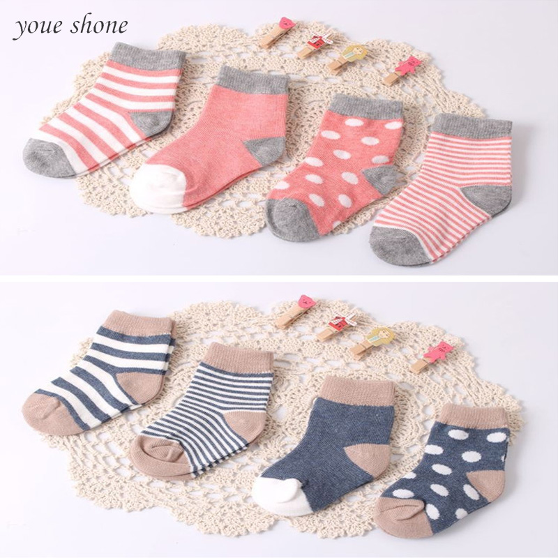 ( 8 Pieces/lot=4pair )95% Cotton Baby Socks Set Spring/autumn Winter Newborn Infant Toddler Floor No Bone For 0-3y Promoted!!!