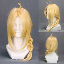 Fullmetal Alchemist Edward Elric 55cm Medium Long Straight Braid Cosplay Wigs Anime Costume Party Christmas Gift Blond