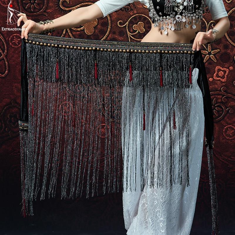 Ceinture de danse du ventre pour femmes ATS taille tribale réglable écharpe de hanche pièces de monnaie en métal ceinture avec autocollant magique perles de Bronze Antique