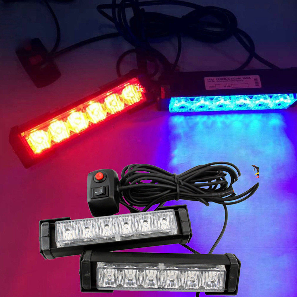 CYAN SOIL BAY 2x 6 LED Car Grille LED Emergency Beacon Light Bar Hazard Strobe Warning Blue Red