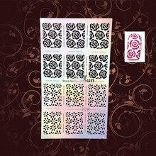 Sexy Roses Nail Art Stencil Stamping Template Nail Foil Vinyls Health Reusable Nail Stickers PJV218 Christmas Pattern Nail Decal