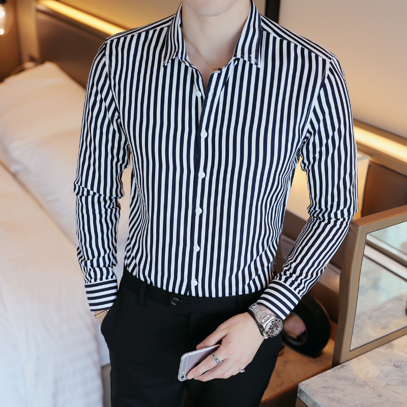 Cheap Business Men Shirt Brand Fashion 2019 Long Sleeve Shirt Men All Match Slim Fit Striped Shirts Men Formal Wear Blouse Homme