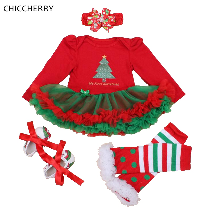 My First Christmas Baby Girl Outfits Long Sleeve Lace Romper Dress Headband Leg Warmer Shoes Vetement Bebe Fille Infant Clothing