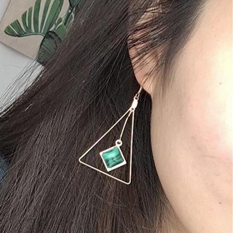 Geometrische Ursprünglichen Dreieck Textur Grün Imitation Dreieck Trieben Ohrringe Sterne Ohrring Brincos...