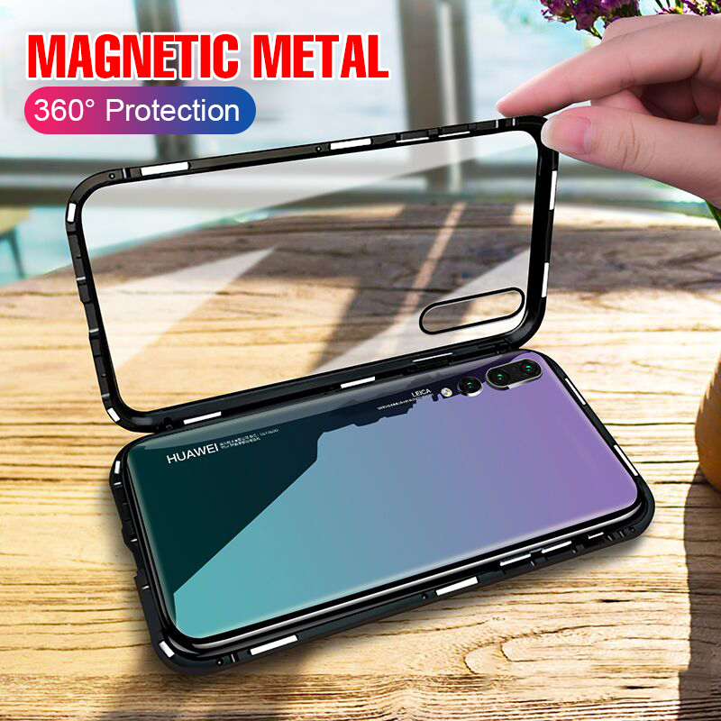 Luxury 360 Degree Protective Magnet Case On The For Huawei P20 Pro P20 Shockproof Glass Case For Huawei P20 Lite Bumper Case(China)