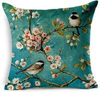 Aves ramo clássico estilo chinês capa de almofada cojin funda floral da borboleta do vintage capa de almofada sofá decoração