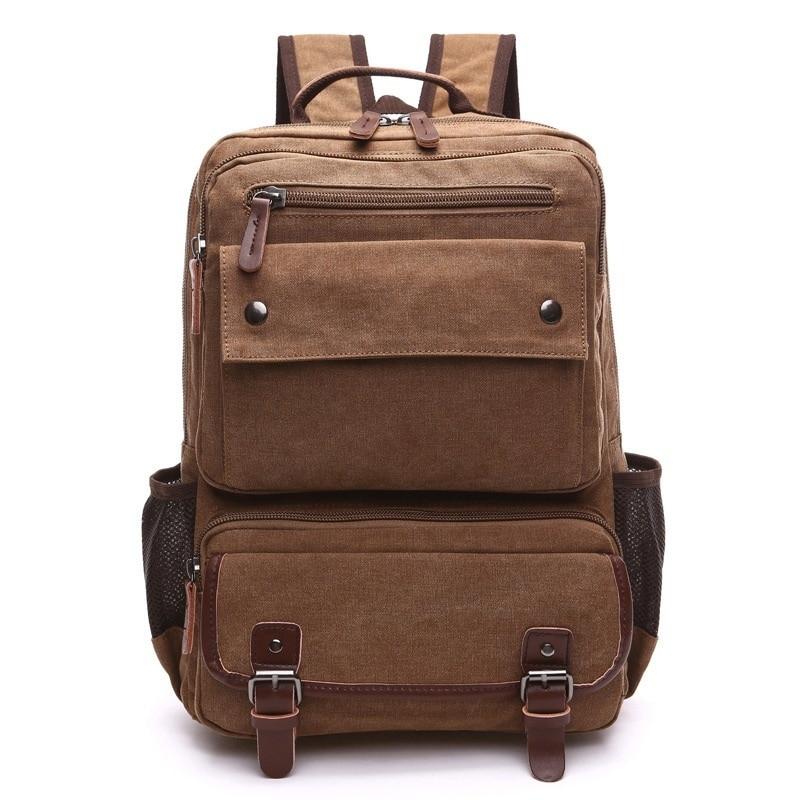 Canvas Backpack Men Versatile Large Capacity Leisure Multi-Purpose Travel Bag Laptop Backpacking DB98