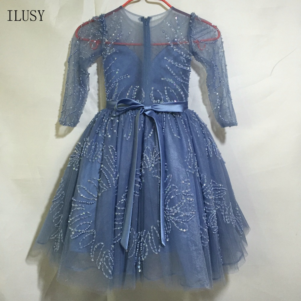 ILUSY Glitter Ball Gown Flower Girl Dresses Puffy Crew Collar Long Sleeve  Child Dress -in Flower Girl Dresses from Weddings   Events on  Aliexpress.com ... 86d7660c8b22