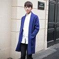 2016 de invierno nuevos hombres de la marca suéter de la rebeca suéter largo azul hombres de moda casual chaqueta de punto de alta calidad tire homme Q665