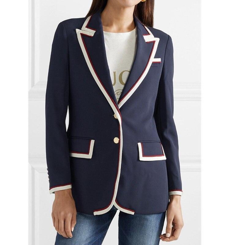 Handmade 2018 Runway Designer Luxury Fashion Blazer for Women Notched Single Breasted Contrast Stripes Blazer Coat Dark Blue Red