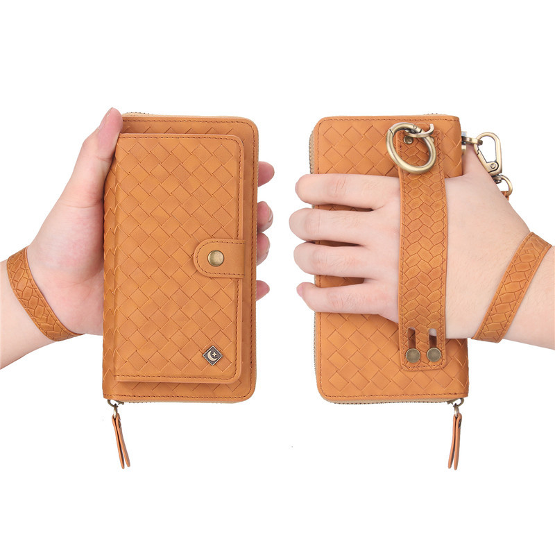 Luxury Woven Pattern Leather Zipper Wallet Case Handbags For iPhone XS Max XR XS X S 6 6S 7 8 Plus Multi Function Pouch Covers in Wallet Cases from Cellphones Telecommunications