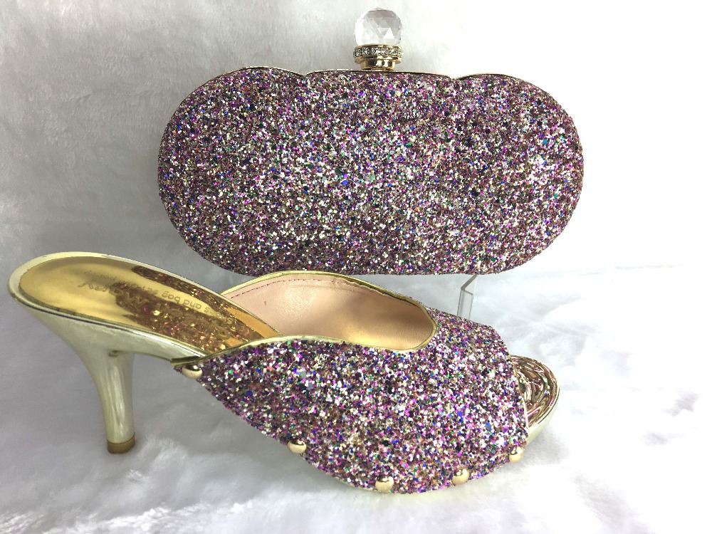ФОТО  Fashion Italian Shoes And Bags Sets To Match For African Women Free Shipping In Stock Size 37-43 light purple Color!HWE1-4
