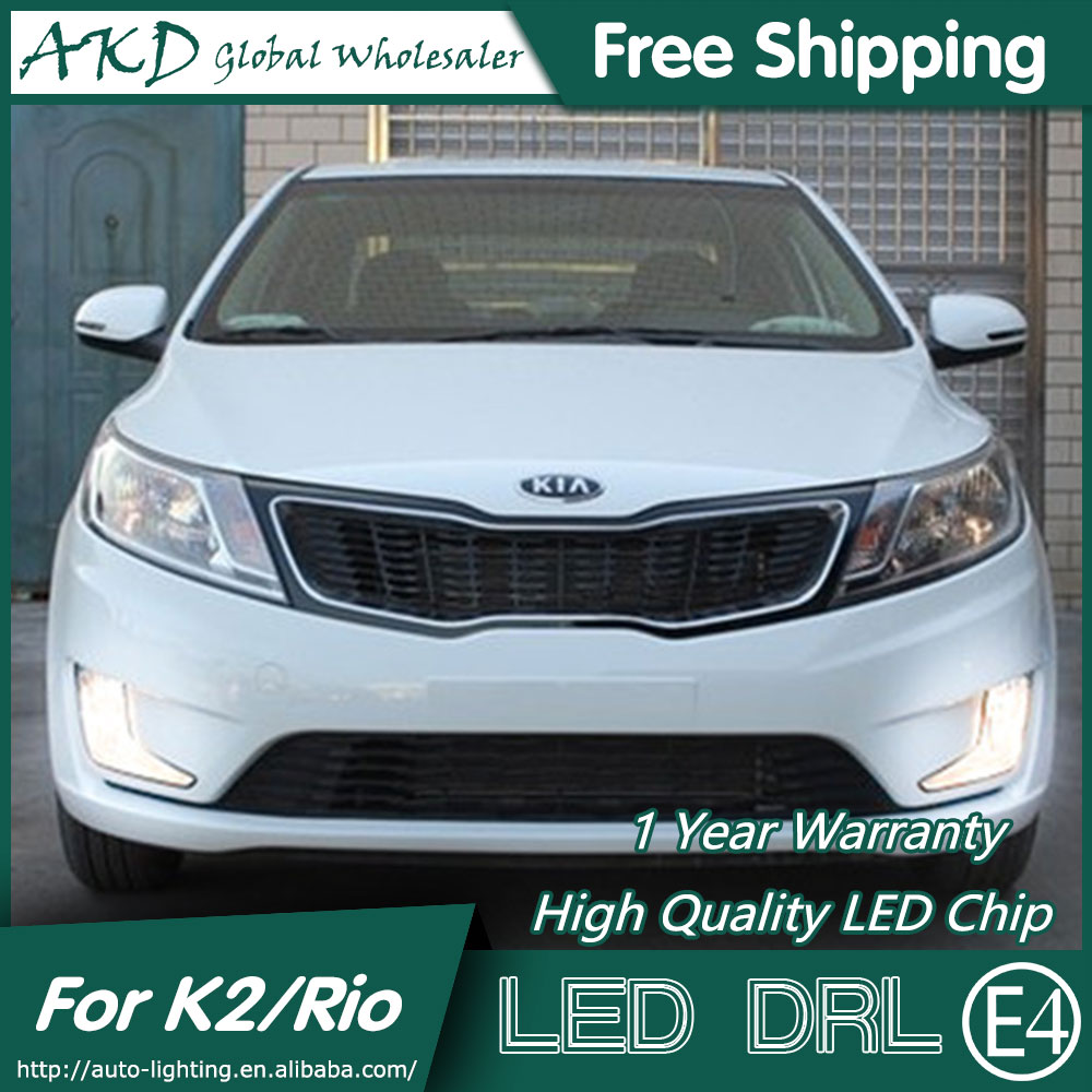 AKD Car Styling for Kia K2 DRL 2012 Rio LED DRL LED Turn Signal LED Running Light Fog Light Parking Accessories akd car styling for kia sportage r drl 2014 new sportager led drl korea design led running light fog light parking accessories