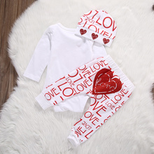 Love Heart Long Sleeve Romper+Pants+Hat 3pcs Baby Outfit