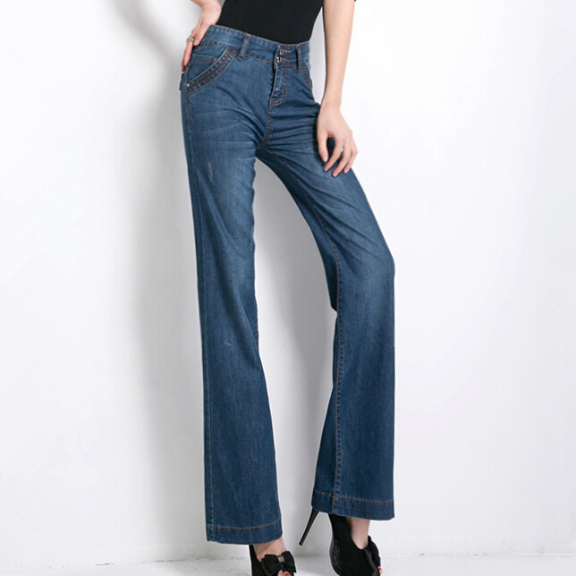 ФОТО new women casual flare jeans softener denim trousers tight wide leg Ladies' Jeans cotton sexy boot cut