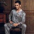 Primavera Otoño Casual para Hombres Pijamas Conjuntos de Pijamas ropa de Noche Masculina de Seda Imitado Casa Salón