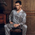 Spring Fall Casual Pyjamas Men Pajama Sets Male Sleepwear Imitated Silk Home Lounge