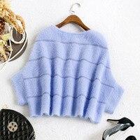 Новый Зимний плащ рукав «летучая мышь» пуловер свитер Mao Shuidiao женский норки Кашемир Шаль короткое пальто
