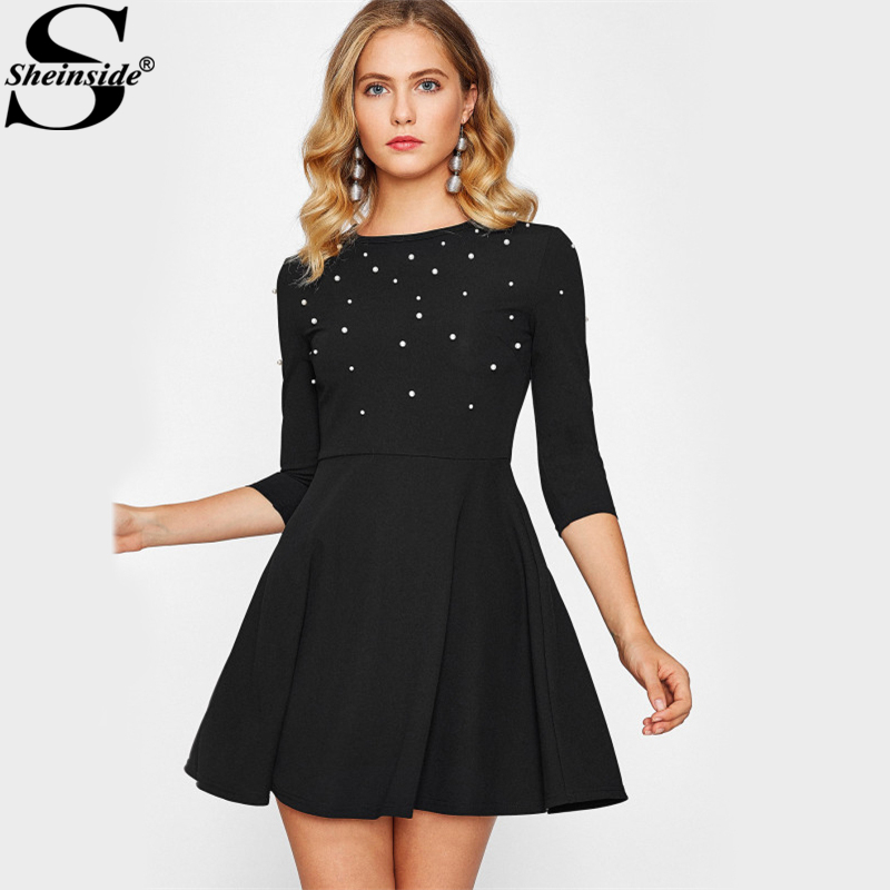 Pearl Embellished Party Dress Zip Fit & Flare Women Black 3/4 Sleeve ...