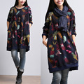 2015 autumn new female literary Fan feather print dress big yards long section cotton Set head fleece