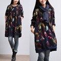 2015 otoño nueva mujer literaria Fan feather print vestido grande de las yardas larga sección de algodón de lana Set cabeza