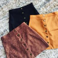 Momoluna Woman New 2017 lolita Suede front button A-line thin high waist Mini  short jupe etek gonne rokken skirt faldas s m l
