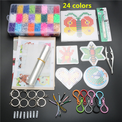 24 Colors 4600pcs 5mm Hama Beads Set Toy DIY Puzzle Hama Beads Pegboads Building Kits Toys For Children Template