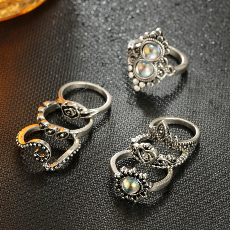 Tocona Antique Silver Color Geometric Ring Set Hasma Hand Flower Hoollow Out Heart Rings Carving Leaf Knuckle for Women 4020 4