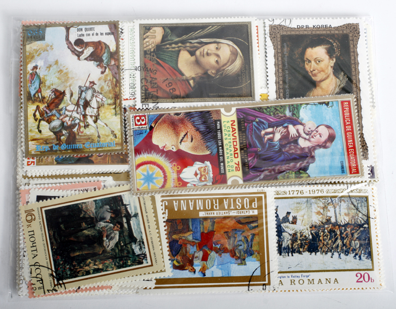 20Pcs Topic World Famous Artist Painting Stamps All Different From Many Countries NO Repeat Marked Postage Stamps Collecting image