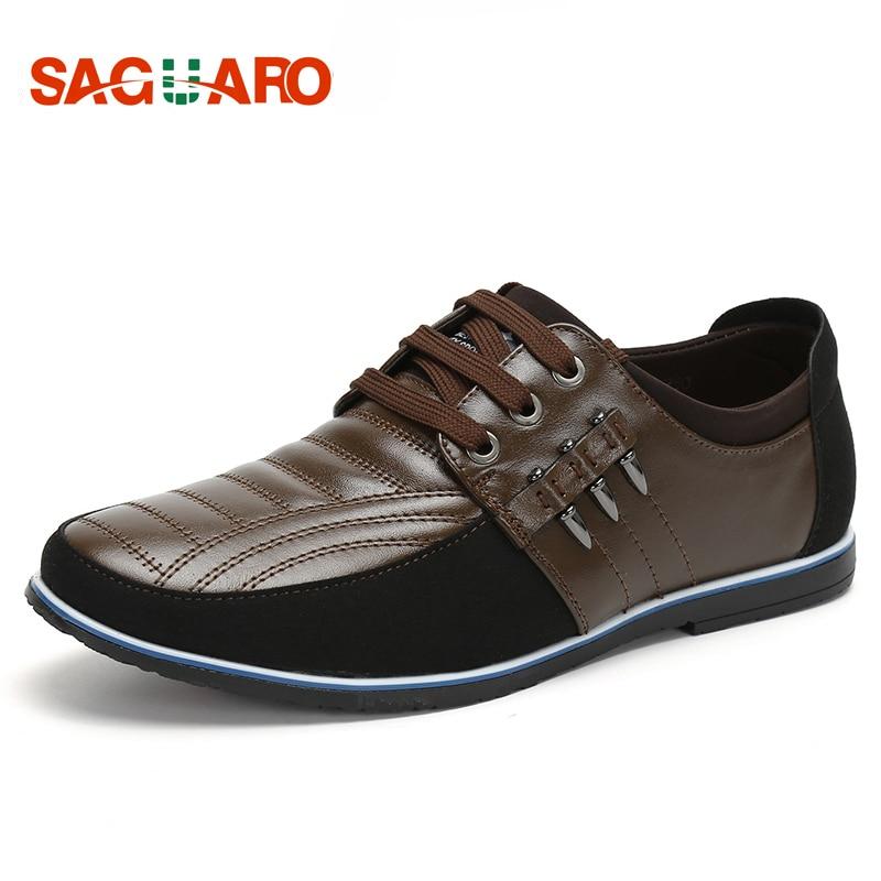SAGUARO Big Size 44 Genuine Leather Men Shoes 2018 Luxury Brand Lace-up Round Toe Casual Shoes Men Business Flats zapatos hombre цена
