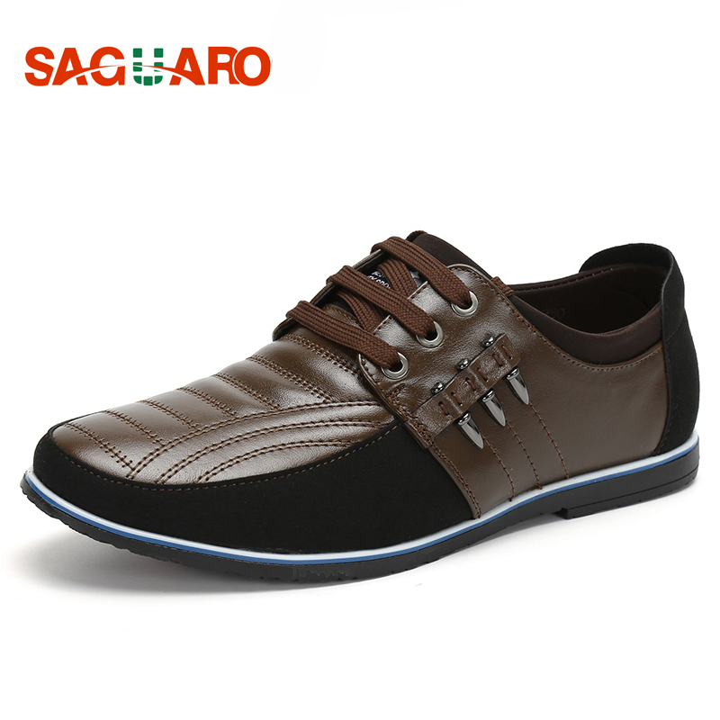 SAGUARO Big Size 44 Genuine Leather Men Shoes 2018 Luxury Brand Lace-up Round Toe Casual Shoes Men Business Flats zapatos hombre
