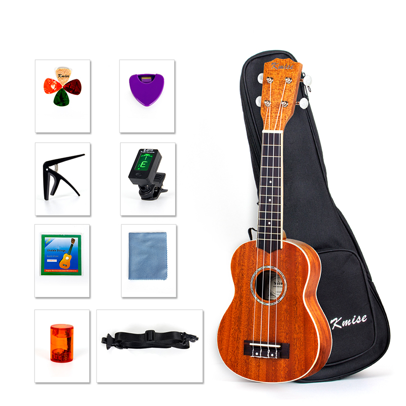 Kmise Soprano Ukulele Beginner Kit 21 inch Ukelele Uke 4 String Hawaii Guitar with Gig Bag Tuner String Picks Capo Strap kmise soprano ukulele spruce 21 inch ukelele uke acoustic 4 string hawaii guitar 12 frets with gig bag