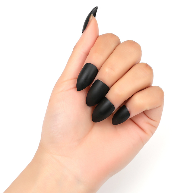 WAKEFULNESS 100Pcs Matte Long Stiletto False Nails Tips Colorful Full Cover Fake Nail Tips Manicure Press On Nails Charms