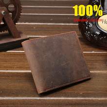 CHARAS BAG brand cowhide wallet mens Retro classic Genuine Leather Money Clips Unisex crazy-horse leather