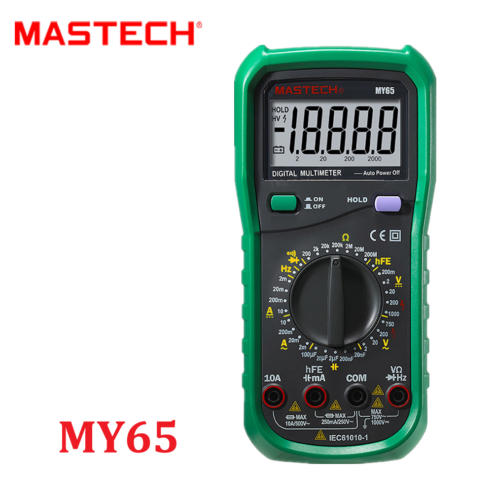 MASTECH MY65 Digital Multimeter DMM AC/DC Voltmeter Ammeter Ohmmeter w/ Capacitance Frequency & hFE Test Voltimetro Tester  мультиметр multimeter 5818 ac dc w