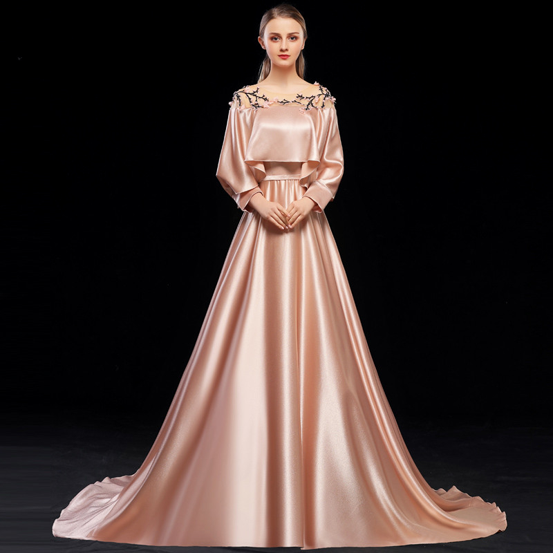 JaneVini Elegant A Line Long   Bridesmaid     Dresses   Scoop Neck Long Sleeves Hand Made Flowers Satin Floor Length Formal Prom Gowns