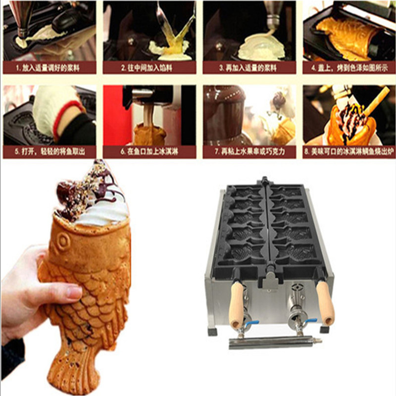 Big open-mouth ice cream Taiyaki waffle machine commercial fish shaped cake maker with 5 pcs mould taiyaki maker with ice cream filling taiyaki machine for sale ice cream filling to fish shaped cake fish cake maker