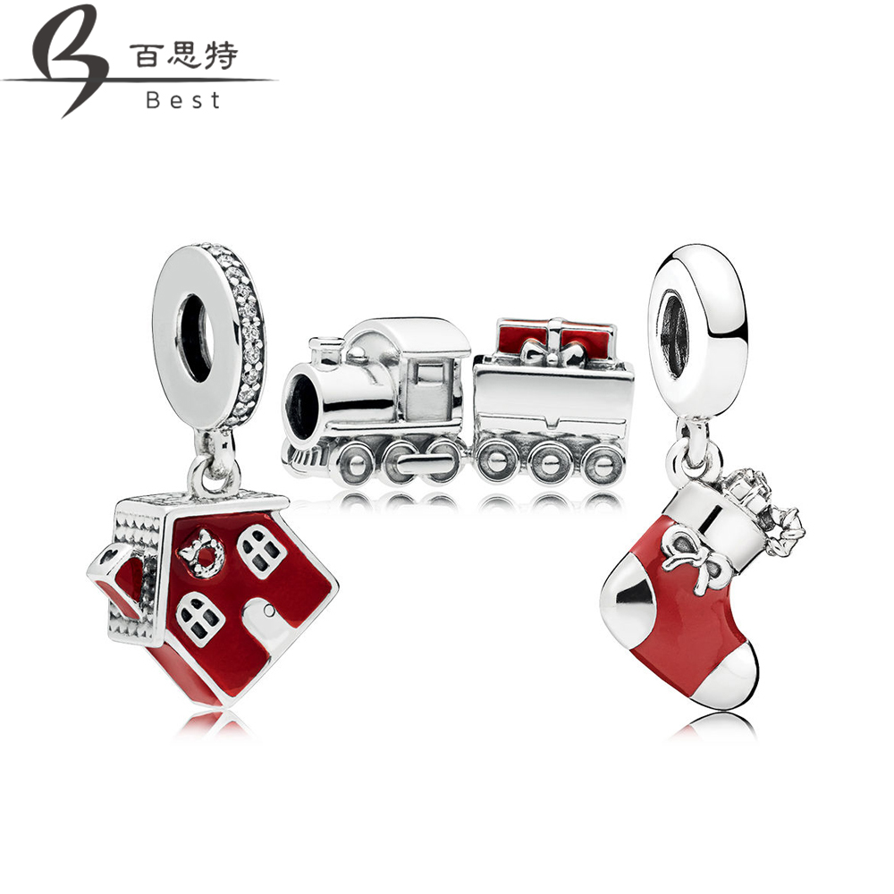 BEST 100% 925 Sterling Silver New 1:1 RAU0553 Festive Christmas Train House Charm Pack set Original Jewelry Free ShippingBEST 100% 925 Sterling Silver New 1:1 RAU0553 Festive Christmas Train House Charm Pack set Original Jewelry Free Shipping