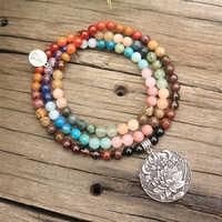8mm contas de pedra natural, 28 pedras coloridas, buda, lótus, conjuntos japamala, jóias espirituais, meditação, inspirador, 108 contas mala