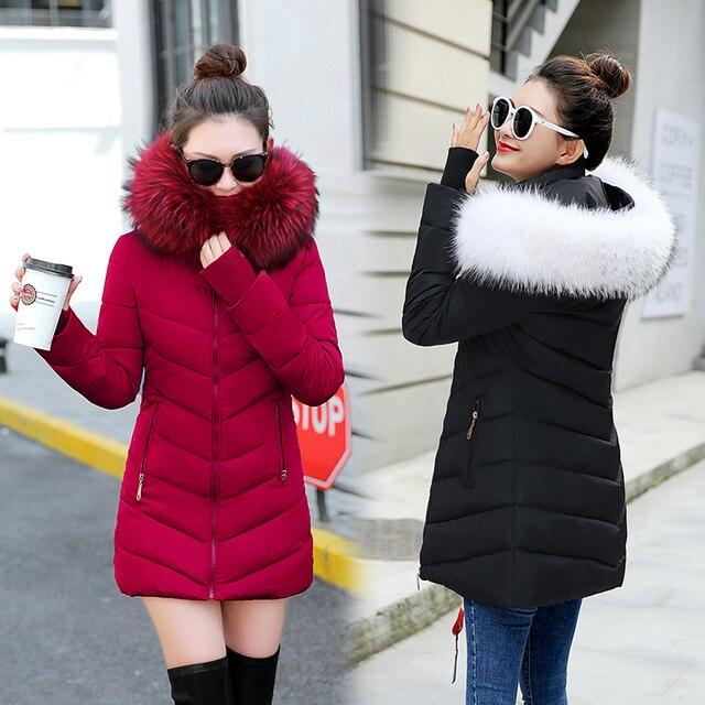 Mùa đông phụ nữ áo khoác 2019 áo khoác nữ Đội Mũ Trùm Đầu Outwear Mỏng phụ nữ dài parka Giả con cáo lông Bông Độn abrigos mujer invierno